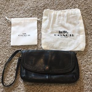Authentic COACH leather wristlet & 2 dustbags